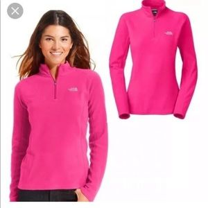 The North Face Pink Quarter Zip Jacket Pullover.